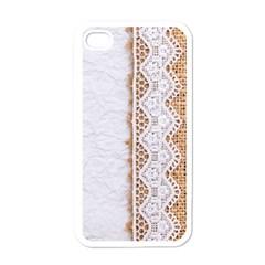 Parchement,lace And Burlap Apple Iphone 4 Case (white)