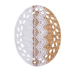 Parchement,lace And Burlap Oval Filigree Ornament (two Sides)