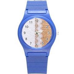 Parchement,lace And Burlap Round Plastic Sport Watch (s)