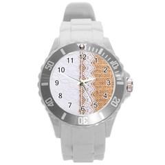 Parchement,lace And Burlap Round Plastic Sport Watch (l)