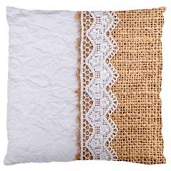Parchement,lace And Burlap Large Cushion Case (two Sides)