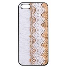 Parchement,lace And Burlap Apple Iphone 5 Seamless Case (black)