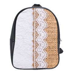 Parchement,lace And Burlap School Bag (xl)