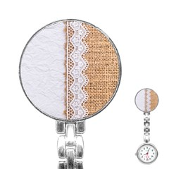 Parchement,lace And Burlap Stainless Steel Nurses Watch