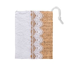 Parchement,lace And Burlap Drawstring Pouches (large)