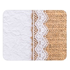 Parchement,lace And Burlap Double Sided Flano Blanket (large)