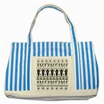 Halloween pattern Striped Blue Tote Bag Front