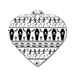 Halloween pattern Dog Tag Heart (Two Sides) Front