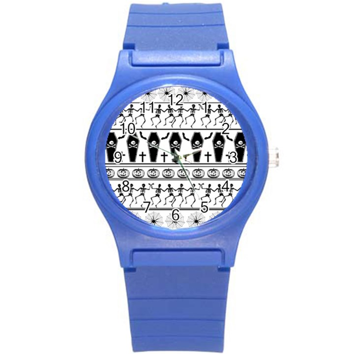 Halloween pattern Round Plastic Sport Watch (S)