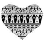 Halloween pattern Large 19  Premium Heart Shape Cushions Front
