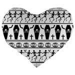 Halloween pattern Large 19  Premium Heart Shape Cushions Back