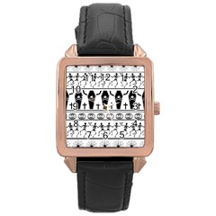 Halloween Pattern Rose Gold Leather Watch