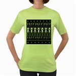Halloween pattern Women s Green T-Shirt Front