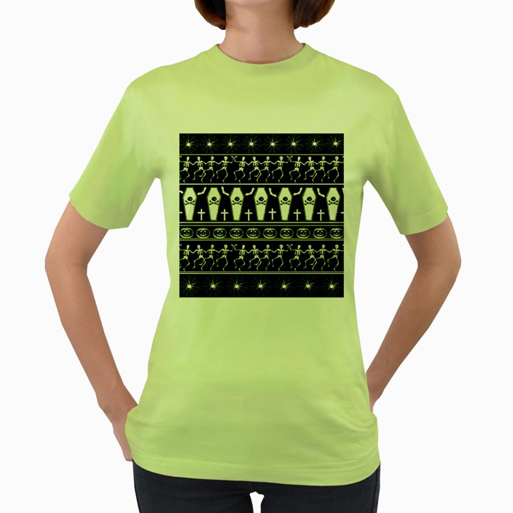 Halloween pattern Women s Green T-Shirt