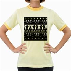 Halloween Pattern Women s Fitted Ringer T Shirts