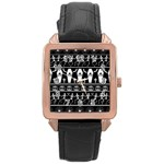 Halloween pattern Rose Gold Leather Watch  Front