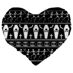 Halloween pattern Large 19  Premium Flano Heart Shape Cushions Back
