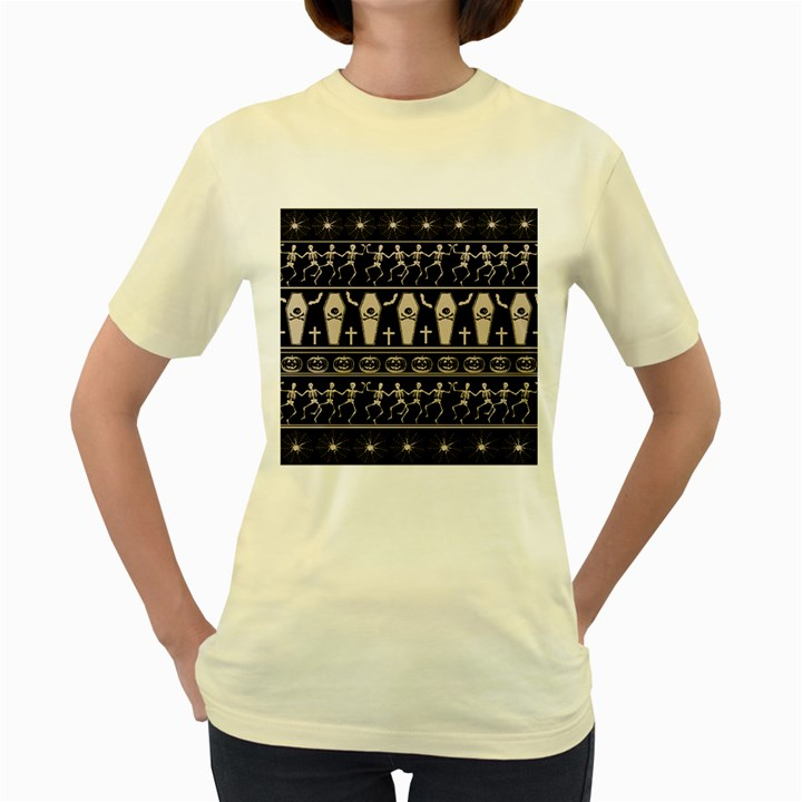 Halloween pattern Women s Yellow T-Shirt