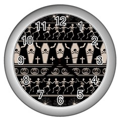 Halloween Pattern Wall Clocks (silver)