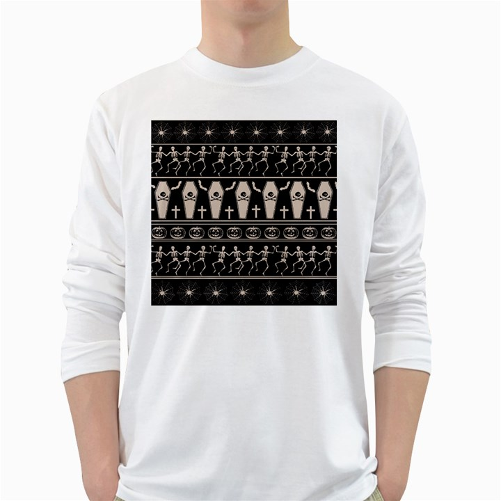 Halloween pattern White Long Sleeve T-Shirts