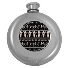 Halloween Pattern Round Hip Flask (5 Oz)
