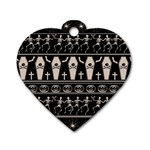 Halloween pattern Dog Tag Heart (Two Sides) Back