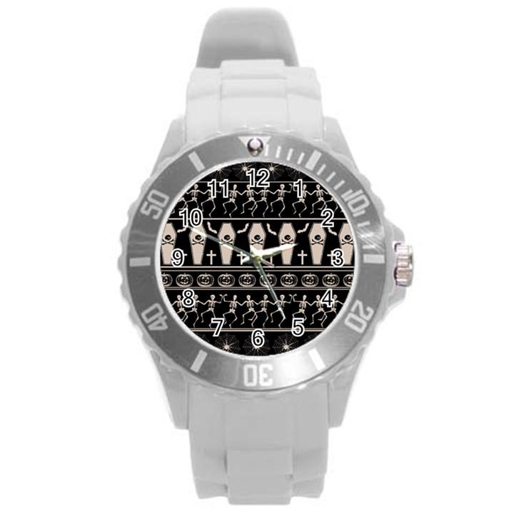 Halloween pattern Round Plastic Sport Watch (L)