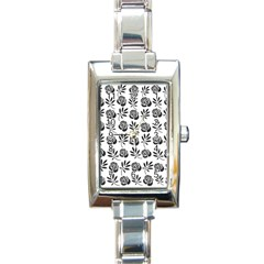 Vintage Roses Rectangle Italian Charm Watch