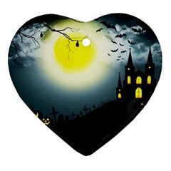Halloween Landscape Heart Ornament (two Sides)