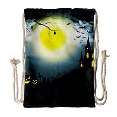 Halloween Landscape Drawstring Bag (large)