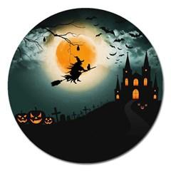 Halloween Landscape Magnet 5  (round)
