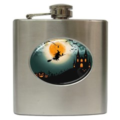 Halloween Landscape Hip Flask (6 Oz)