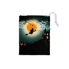 Halloween Landscape Drawstring Pouches (small)