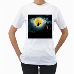 Halloween Landscape Women s T Shirt (white) (two Sided)