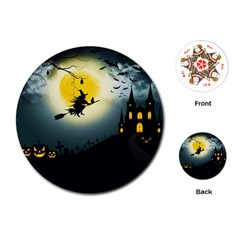 Halloween Landscape Playing Cards (round)