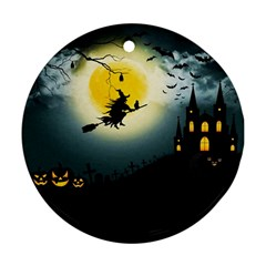 Halloween Landscape Round Ornament (two Sides)