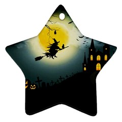 Halloween Landscape Star Ornament (two Sides)