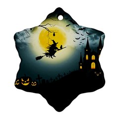Halloween Landscape Snowflake Ornament (two Sides)