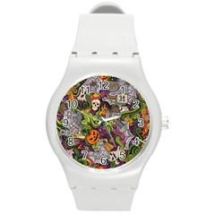 Halloween Pattern Round Plastic Sport Watch (m)