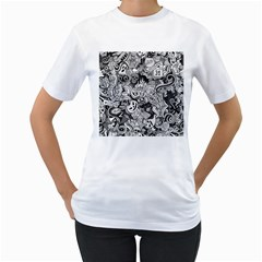 Halloween Pattern Women s T Shirt (white) (two Sided)