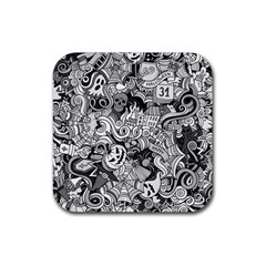 Halloween Pattern Rubber Square Coaster (4 Pack)