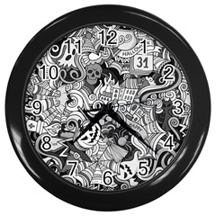 Halloween Pattern Wall Clocks (black)
