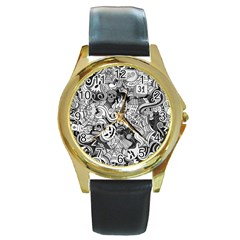 Halloween Pattern Round Gold Metal Watch