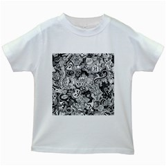 Halloween Pattern Kids White T Shirts
