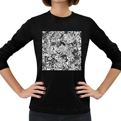 Halloween Pattern Women s Long Sleeve Dark T Shirts
