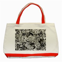 Halloween Pattern Classic Tote Bag (red)