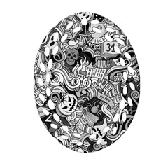 Halloween Pattern Oval Filigree Ornament (two Sides)