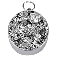 Halloween Pattern Silver Compasses