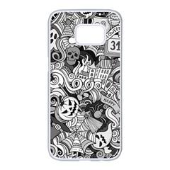 Halloween Pattern Samsung Galaxy S7 Edge White Seamless Case