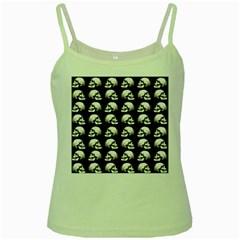 Halloween Skull Pattern Green Spaghetti Tank